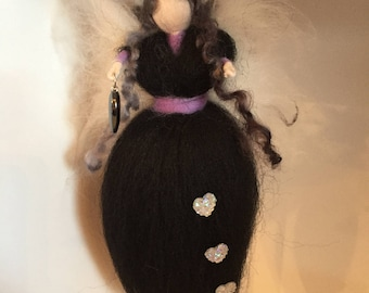 Hematite Hanging Needle Felted Fairy, Waldorf Inspired, Black Fairy, Needle Felt Fairy