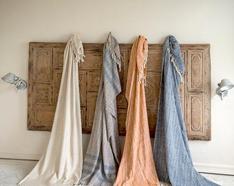 Handwoven raw silk throws,shawls or wraps in blue , ivory , orange and  taupe /blue stripes .