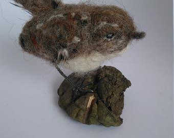 needle felted wren, felted wren, needle felted bird, garden bird, ornamental bird, bird sculpture, textile bired, fibre art, songbird,  wren
