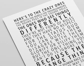Apple Think Different Poster Quote Motivational Typography Startup
