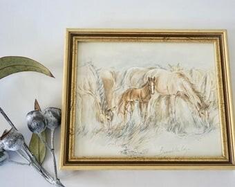 Original and Vintage Horses artwork - Bernadette Loy - signed and professionally framed
