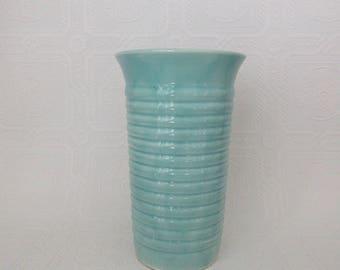 Vintage Aqua USA Pottery Bauer Ringware Vase
