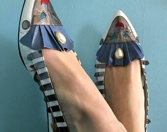 margaret j women vintage retro shoes size 8 1/2 leather 1980s fun unique art shoes, be different!