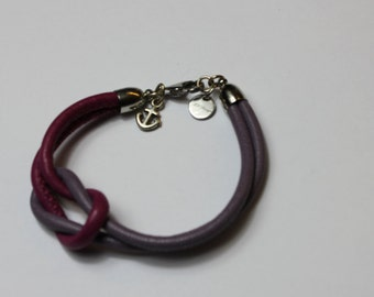 Leather Bracelet, berry notes, anchor, logo, silver-colored, node, soft, anschmiegsan, easy, noble, style