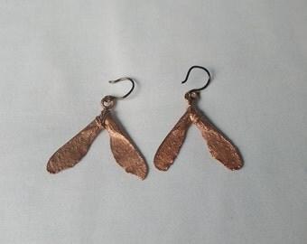 Copper Electroformed maple seed pod earrings