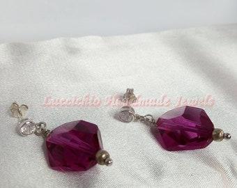 Swarovski, Fuchsia Swarovski Earrings, Sterling Silver Earrings , Handmade Earrings with Cubic Zirconia