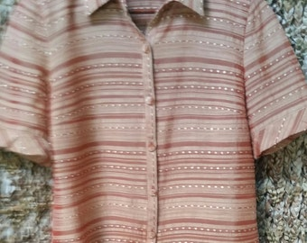 Vintage Designer Quality Unique Top Amber Rust Sheen V-neck Button Downed