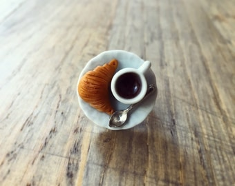 Sweet Breakfast Ring, Miniature Food Ring with Croissant and Coffee