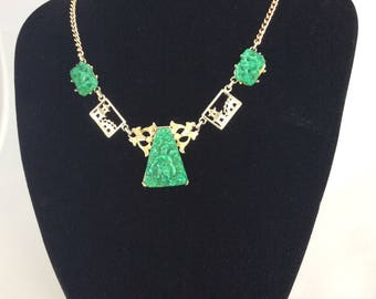 1960's Fab faux Jade Oriental themed necklace