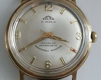 Vintage gentlemens SOLAR wrist watch from the late 1950's---------SERVICED--------