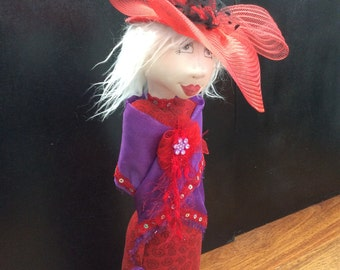 Red Hat Lady,Unique handmade gift,Cloth doll,stump doll,OOAK,textile doll,Scarlett