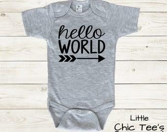 Hello World Baby Bodysuit, hello baby bodysuit, hello world baby onesie, hello world bodysuit, hello world onesie, hello baby onesie