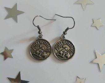 Zodiac Sign Aquarius Earrings