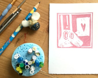 Doodle Rabbit // A6 // Original Lino Print