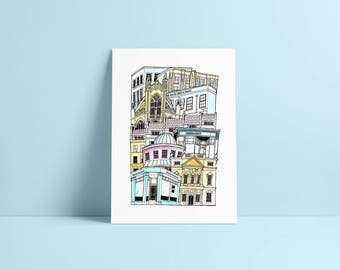 Bath A3 Illustrated Stacking cityscape print