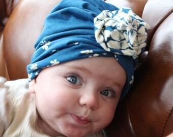 blue baby turban, Newborn turban, baby turban hat with bow, baby turban headband, baby bow turban, Bow turban, turban hat