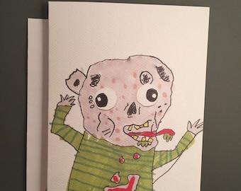 Zombie Cartoon Note Card