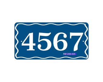 House Number Sign with Wave Border