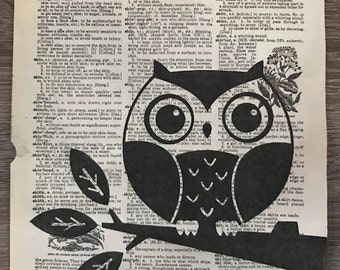 Dictionary Print: Owl on branch