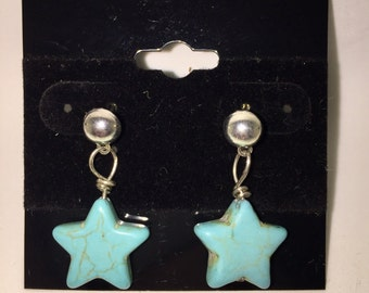 Turquoise Star Earrings - Silver - Beads - Gift