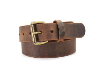 Brown Distressed American Bison Smooth Casual Belt | USA Made