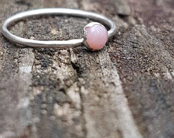 Natural Pink Opal & Eco Sterling Silver ring