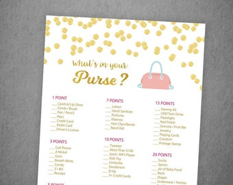 Whats in your Purse Game, Gold Confetti Bridal Shower Games Printable, Purse Hunt Game, Purse Raid, Glitter, Wedding Shower, Bag Hunt, BSG2