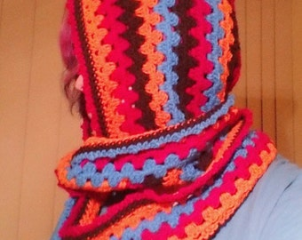 Colourful Hood with Scarf