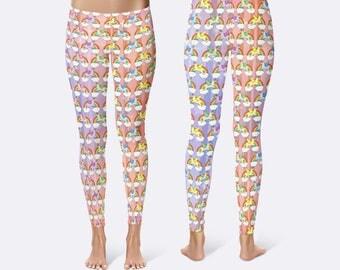 Llama Leggings, Llamicorn Leggings, Rainbow Leggings, Unique Leggings, Printed Leggings, Yoga Pants, Womens Leggings, Funny Leggings