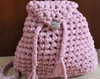 Knitted bag backpack cotton yarn, t-shirt yarn
