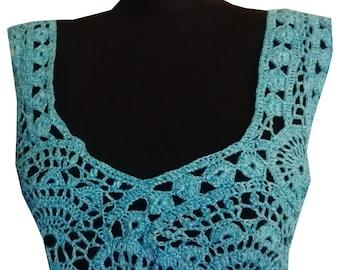 Blue Crocheted Dress