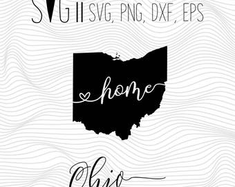 Ohio Home Svg, State Svg, Font Svg Files For Silhouette For Cricut, SVG EPS PNG Dxf Vector Cutting Files Vinyl Decal, Monogram Svg