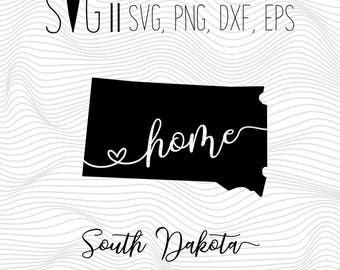 South Dakota Home Svg, State Svg, Font Svg Files For Silhouette For Cricut, SVG EPS PNG Dxf Vector Cutting Files Vinyl Decal, Monogram Svg