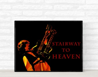 Jimmy Page Poster, Led Zeppelin Poster, Music Legend Poster, Celebrity Poster, Greates Artist Poster, Stairway to Heaven Poster