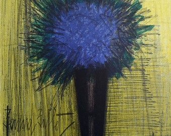 Bernard Buffet - lithograph signed referenced #MOURLOT blue bouquet