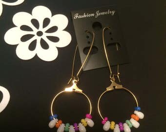 Handmade Glass Beaded Dangle Earrings Pastels with White Drops on Gold