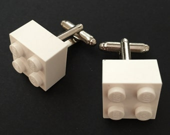 Lego cuff links - White