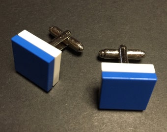 Lego cuff links - Blue on White