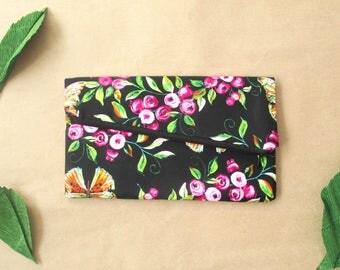 Bridesmaid clutch, floral clutch, folded clutch, clutches, black clutch, zipper clutch, bridesmaids clutches, rustic clutch, elegant bag