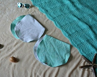 Flannel Burp Cloths -Burp Cloth 2 pack- Aqua and White Baby Accessories - Hawaii Baby Accessories