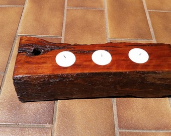 Rustic Handmade Redgum Candle Holder Center Piece - 3 Candle