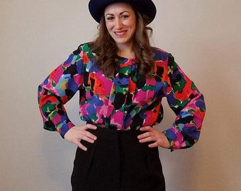 Impressions of California Multi Color Button Up Blouse