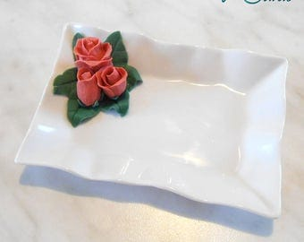 Wedding favor white porcelain tray, decorated by hand