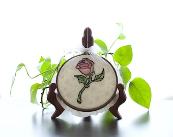 "Enchanted Rose Hand Embroidery, Hoop Art, Wall Art, with 5"" Hoop"
