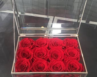 12 Eternity Roses in a Silver Modern Glass Box
