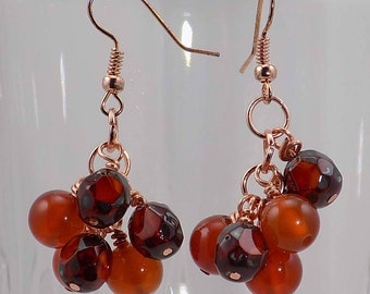 Carnelian with czech glass beads on copper wire