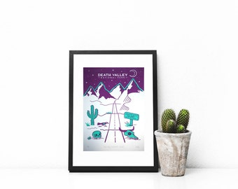 Death Valley Two Coloured Screen Print (Limited only Six printed) Cactus, Skull, Travel, Road trip, Mountains, Nevada, America, A4