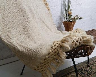 Big boho blanket woven cotton - VINTAGE - Queen bed