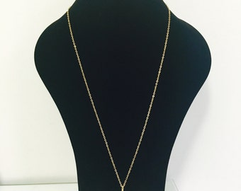 Long Chain Necklase with Bar Pendant
