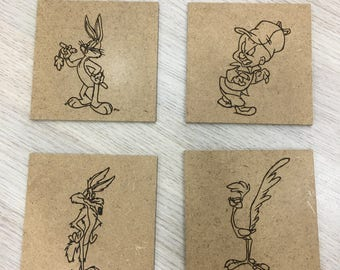 Wood Coasters Looney tunes, Looney tunes coffee coasters, set of 4,pyrography coaster,Shop owner gift,Students gifts,Housewarming gift K071